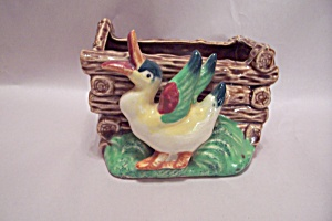 Occupied Japan Duck & Log Box Planter/cache Pot