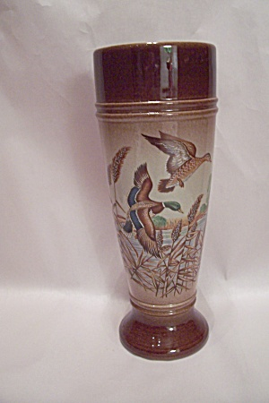West German Porcelain Mallard Duck Decorated Beer Glass