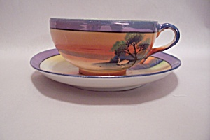 Chikaramachi China Hand Painted Lustre Cup & Saucer