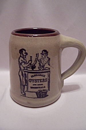 Saddleback Oysters Advertising Pottery Beer Mug