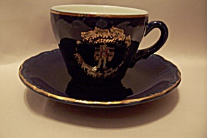 Switzerland Cobalt Blue Souvenir Cup & Saucer Set