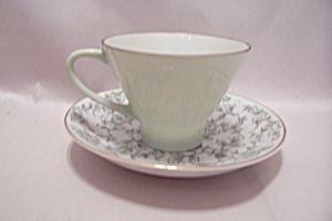 Green & Floral Decorated Demitasse Cup & Saucer Set