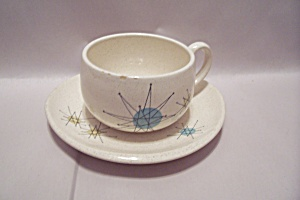 Franciscan Color Seal Pattern China Cup & Saucer Set