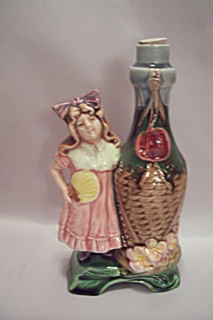 Little Italian Girl With Giant Wine Bottle Figurine