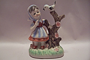 Porcelain Little Giirl & Bird Figurine