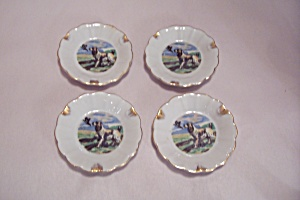 Set Of 4 Occupied Japan Bird Dog Ash Trays