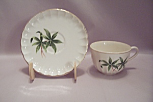 Green Floral Decorated Porcelain Cup & Saucer Set