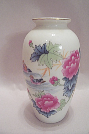 Occupied Japan Miniature Flower & Duck Porcelain Vase