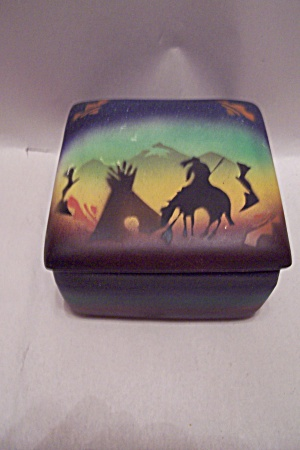Indian Motif Decorated Ceramic Lidded Box