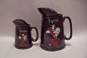 Brown Porcelain Syrup & Butter Pitchers