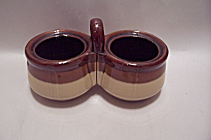 Brown & Tan Porcelain Double Condiment Server