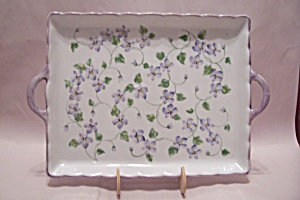 Andrea By Sadek Porcelain Blue Flower Serving Tray