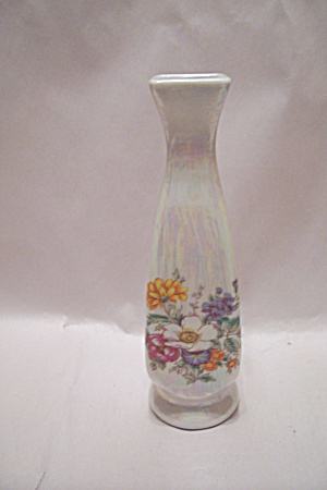 Porcelain Opalescent Floral Decorated Bud Vase