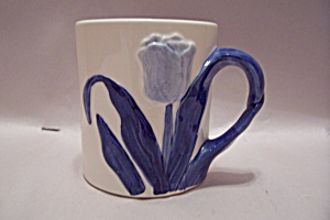 Holland Tulip Hand Painted Delft Blue Porcelain Mug