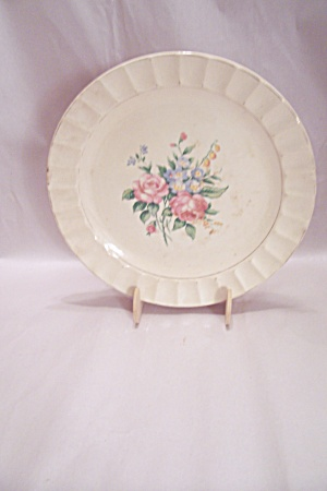 Crown China Rose Decorated Dinner Plate