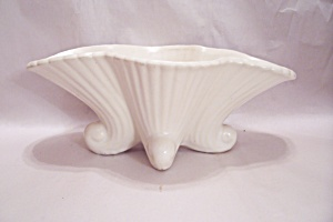 White Mccoy Pottery Footed Oval Planter