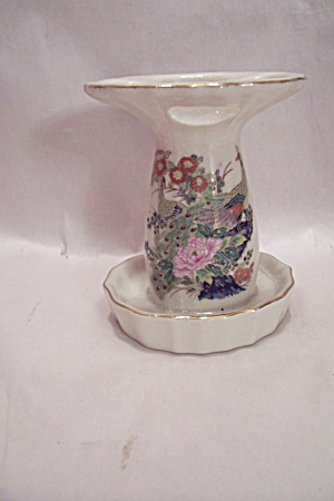Satsuma Porcelain Peacock Decorated Toothbrush Holder