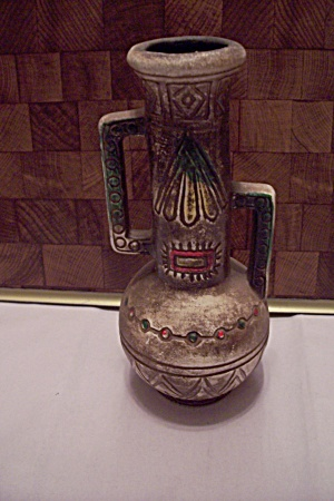 Native American Hand Decorated Pottery Handled Vase