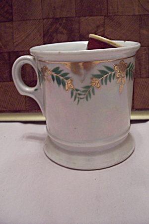German Porcelain Opalescent Shaving Mug W/brush