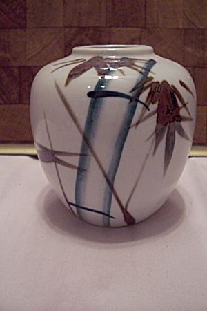 Gray Porcelain Bamboo Decorated Bulbous Vase