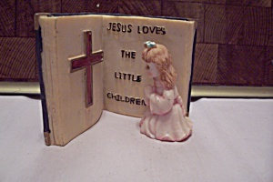 Little Girl Figurine With Bible Passage