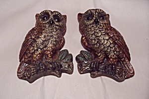 Pair Of Ceramic Owl Wall Plaques