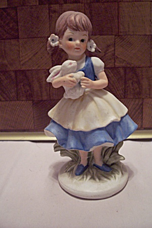 Porcelain Little Girl With Bunny Figurine