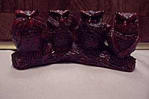 Red Composition Four Owl Figurine