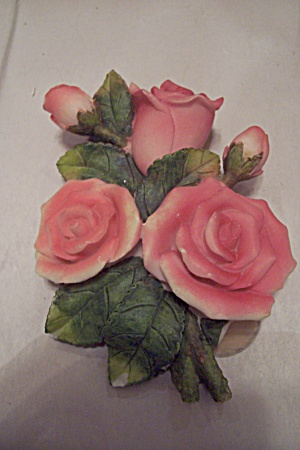 Porcelain Pink Rose Plaque With Thermometer On Back