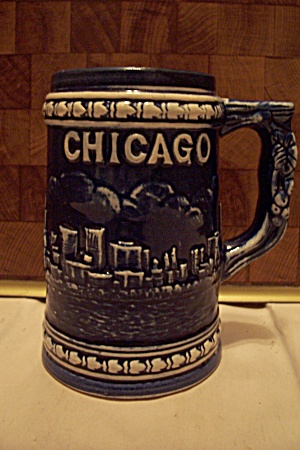 Cobalt Blue & White Porcelain Chicago Souvenir Beer Mug