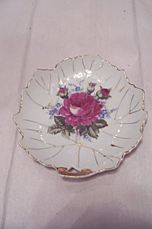 Occupied Japan Porcelain Leaf Shaped Candy Dish