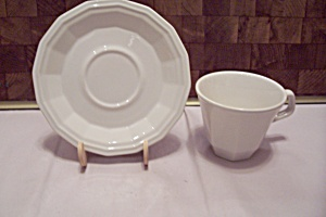 Homer Laughlin Colonial White Pattern Cup & Saucer