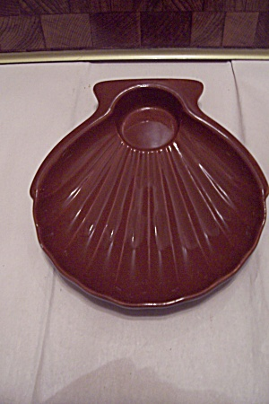 Hall Brown Porcelain Seashell Snack Dish