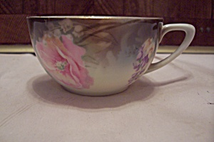 German Flower Decorated Porcelain Teacup