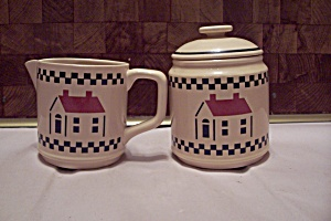 White Porcelain Heart & Home Decorated Creamer & Sugar
