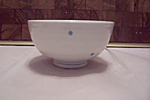 White China Blue Polka Dot Decorated Rice Bowl