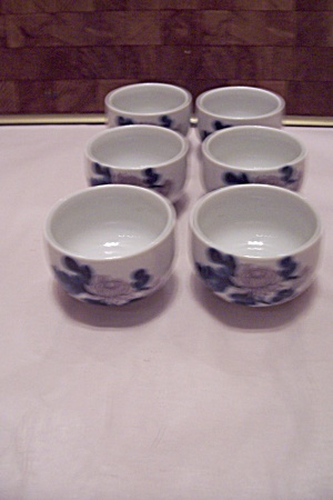 Japanese Porcelain Set Of Six Flower Decorated Teacups