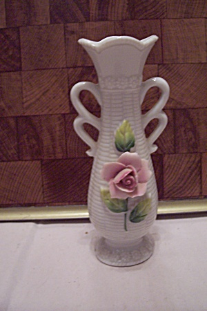 White Fine Porcelain Pink Rose Decorated Miniature Vase