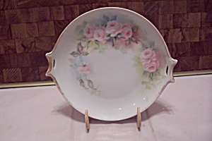 Hr Bavarian China Pink Rose Decorated Dish