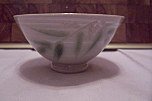 Beige Japanese Bamboo Decorated China Footed Rice Bowl