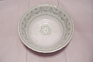 John Edwards White Porcelain Green Decorated Bowl