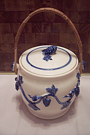 Japanese White Pottery Blue Decorated Biscuit Jar