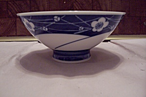 Japanese Blue Floral Decorated Footed Rice Bowls