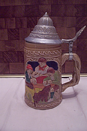 German Porcelain Beer Stein With Pewter Lid