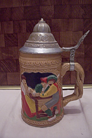 German Porcelain Beer Mug With Pewter Lid