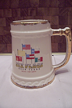 Porcelain Six Flags Over Texas Beer Mug