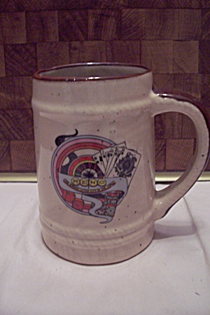 Porcelain Beige Souvenir Beer Mug For Reno, Nv