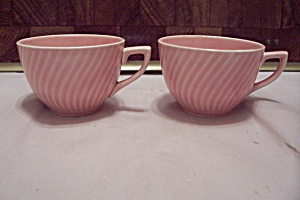 Pair Of Pink & White China Demitasse Cups