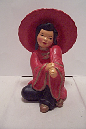 Porcelain Chinese Girl With Umbrella Figurine