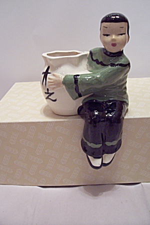 Porcelain Chinese Male Figurine Shelf Cache Pot